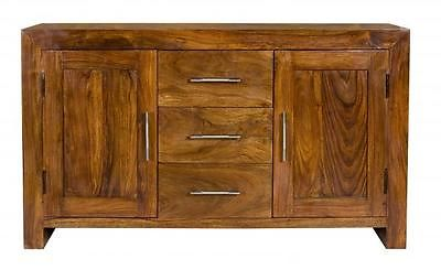Cube Petite Chunky 100% Solid Sheesham Wood SideBoard Cabinet