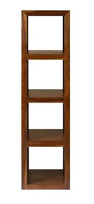 Cube Petite Indian Sheesham Wood Modern 4 Hole Quadruple Cube Bookcase