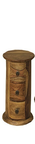 Jali Sheesham 3 Drawer Round Chest