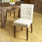 Pair of Flare back Biscuit Shade Upholstered Dining Chair  walnut legs