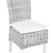 Pair of White Wicker Chairs with cushion