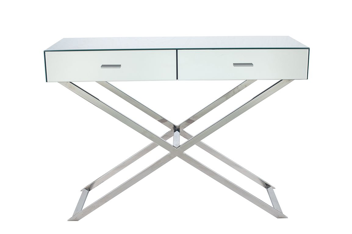 Picture of: Silver Mirrored Glass Metal Console Table